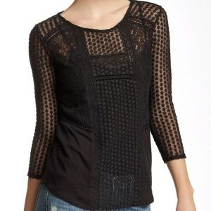 Lucky Brand Mixed Lace Peasant Top Black Sheer
